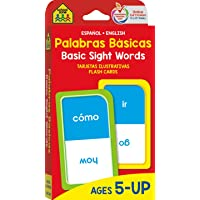 School Zone - Bilingual Beginning Basic Sight Words Flash Cards - Ages 5+, Kindergarten to 1st Grade, ESL, Language…
