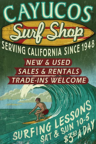 (Cayucos, California - Surf Shop Vintage Sign (9x12 Art Print, Wall Decor Travel Poster))