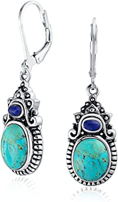 Oval style colorful stone earring