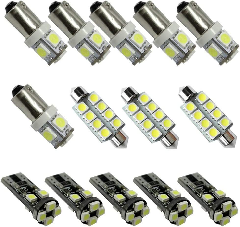 For S-MAX LED Car Bulbs Reading lights Super Bright Car Interior Light Dome Map Side Courtesy Lamps Canbus Error Free Replacement Lights White 14PCS
