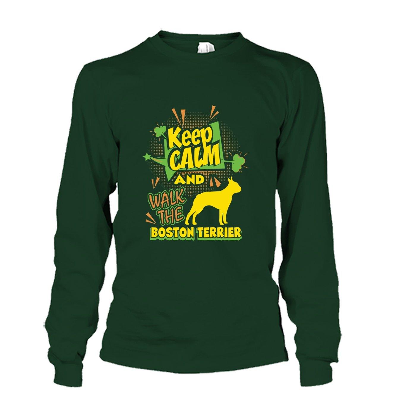Brown Bee Keep Calm and Walk The Boston Terrier Tee Shirt Short Sleeve Shirts