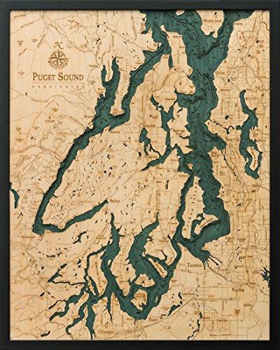 Puget Sound, Washington 3-D Nautical Wood Chart, 24.5