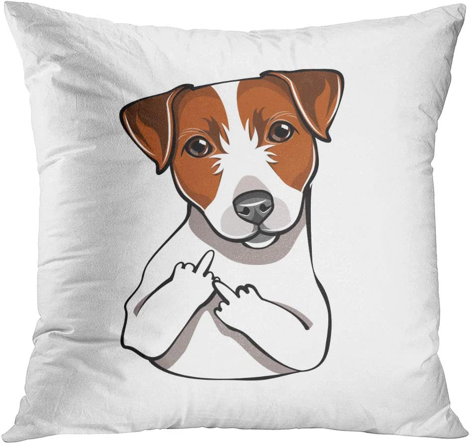 """NEW CUTE BROWN WHITE JACK RUSSELL PUPPY PALE BLUE WHITE 16/"""" Pillow Cushion Cover"""