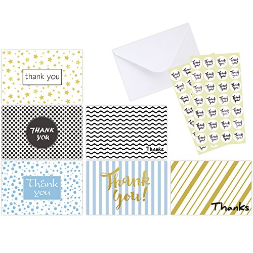 Thank You Cards of Ohuhu, 6 Design of 48 Postcard Style Thank U Card for Wedding, Baby Shower, Business, Anniversary - Include Envelopes and Stickers - One Blank Side Thank You Notes, 4 x 6 Inch ()