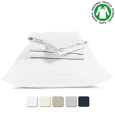 BIOWEAVES 100% Organic Cotton 4 Piece Bed Sheet Set, 300 Thread Count Soft Sateen Weave GOTS Certified with deep Pockets (Queen, White)