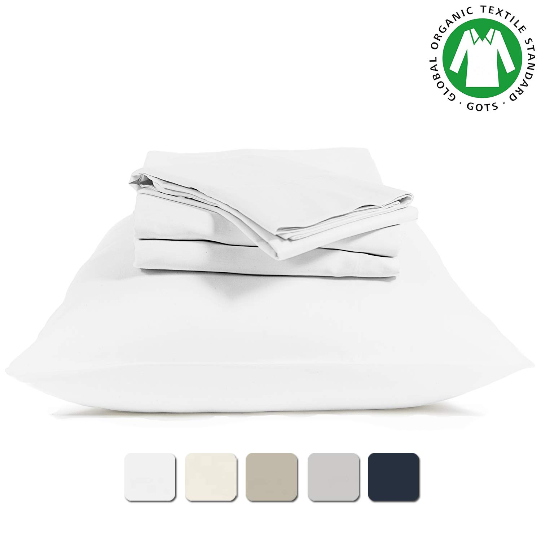 BIOWEAVES 100% Organic Cotton 4 Piece Sheet Set 300 Thread Count Sateen Weave GOTS Certified with deep Pockets (King, White)
