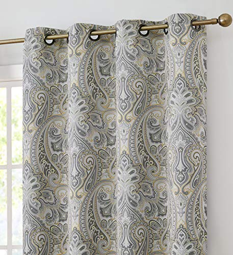 HLC.ME Paris Paisley Decorative Print Damask Pattern Thermal Insulated Blackout Energy Savings Room Darkening Soundproof Grommet Window Curtain Panels for Bedroom, Set of 2 (50 x 84 Long, Grey/Yellow) (Curtain Yellow Chevron)