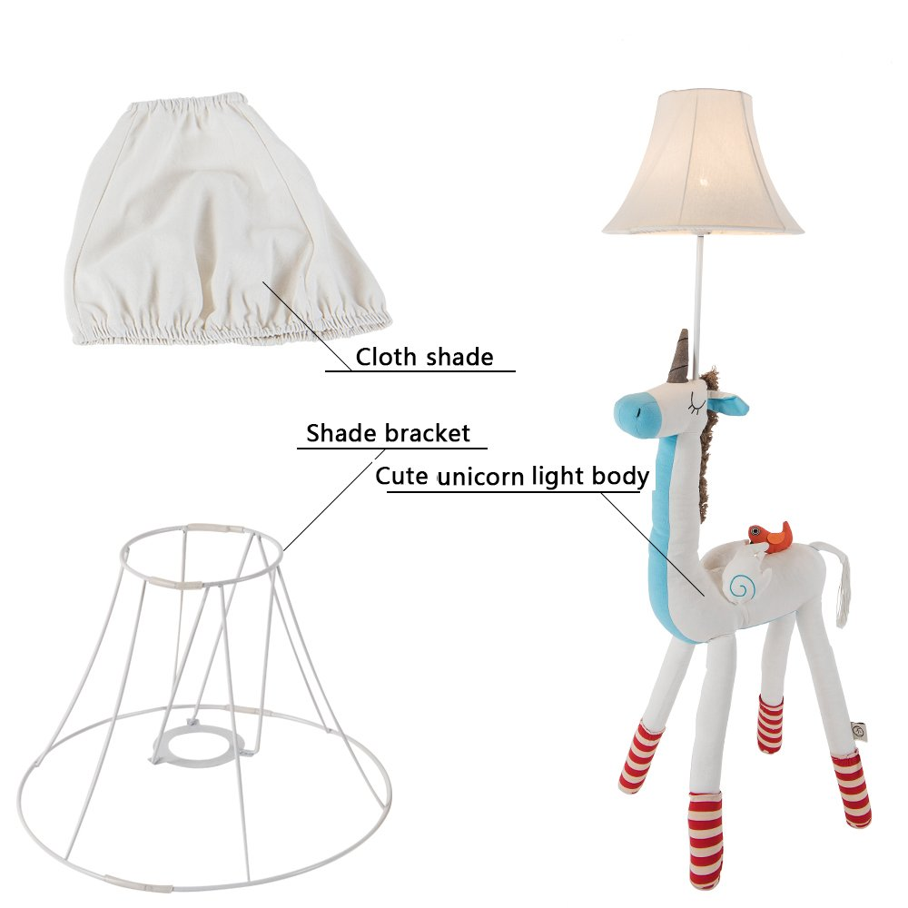 Kids Lamp for Girls Unicorn Lamp Cute Floor Lamp Decorative Light with Fabric Lampshade for Nursery Bedroom Living Room