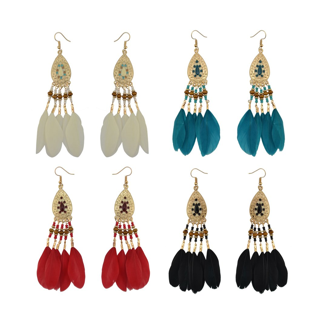 Fashion Bohemian Vintage Feather Tassels Drop Dangle Earrings Handmade Turquoise Dangle Earrings Fashion Jewelry Style for Women Girls Valentines Day Gifts