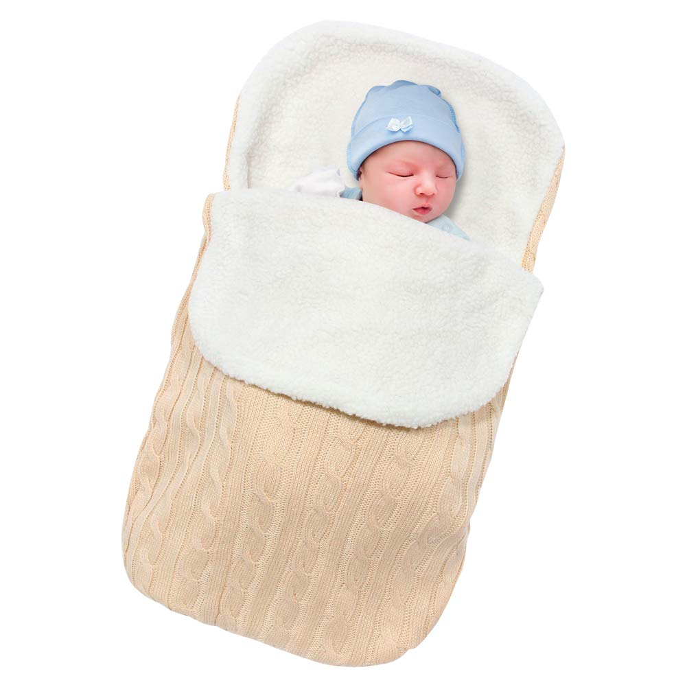 Basumee Newborn Baby Sleeping Bag, Newborns Knitted Swaddle Blanket Infant Swaddle Wrap Warm Stroller Wrap Baby Sleeping Sack