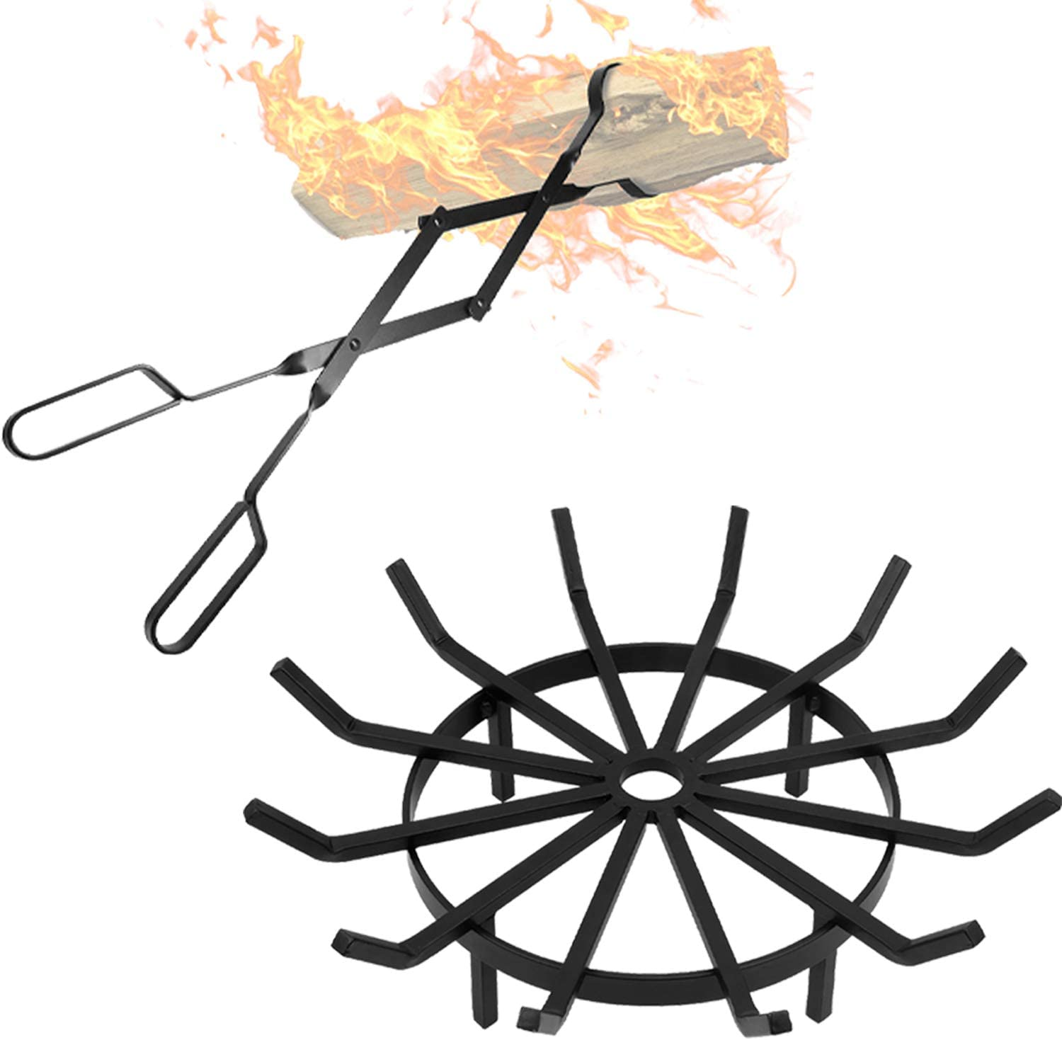 """Amagabeli Fireplace Log Tongs 26"""" + Bundle + 24in Fire Grate Log Grate Wrought Iron Fire Pit"""