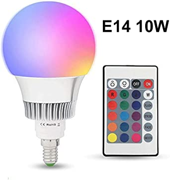 E14 10W RGBW LED Bombilla 16 Color Cambiantes Lámpara con Mando a ...