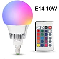 Colour Changing Bulb E14 10W Dimmable RGB LED Light Bulbs with Smart Remote Control 16 Color for Home Decoration Bar Party KTV Stage Effect Lights