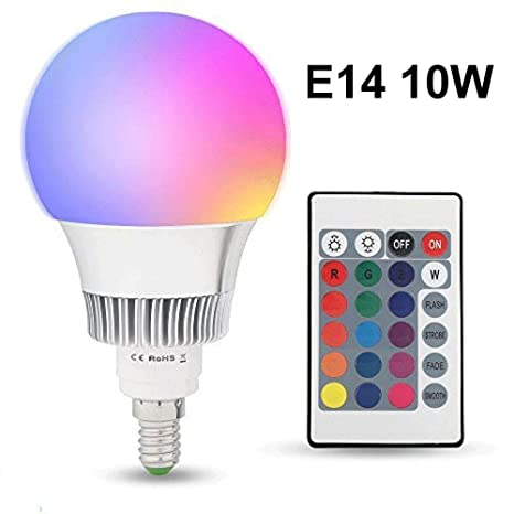 Topmoderne LED RGB Lampe E14 10W mit Fernbedienung Dimmbar, (16 Farben JE-36