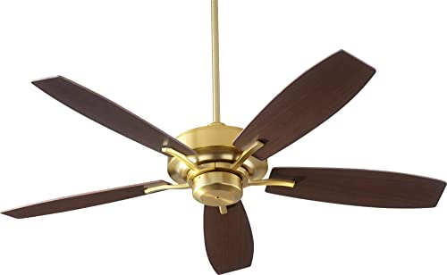 Quorum 64525-80 Protruding Mount, 5 Weathered Oak Walnut Blades Ceiling fan with 64 watts light, Aged Brass