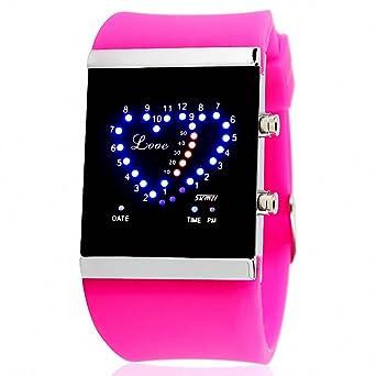 Skmei unisex correa de goma reloj digital para niña moda casual PU + caja de luz pantalla LED en forma de corazón: SKMEI: Amazon.es: Relojes