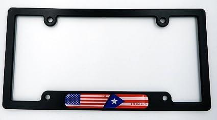 USA Puerto Rico Black Plastic Car License plate frame