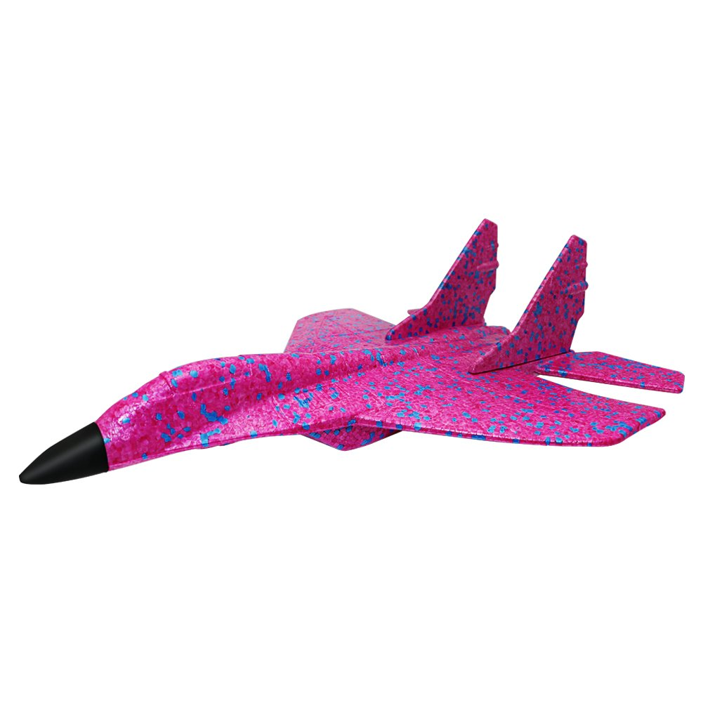 ELShen Upgraded Environmental EPP Foam Glider Fighter Hand Throwing Plane Inertia Launch 43.6cm Big Airplane Toys Funny Outdoor Playground Toys 17.2 inch (Camouflage Purple)