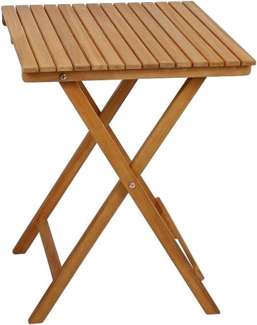 Mesa plegable para balcón/mesa auxiliar/mesa de jardín de madera de acacia.: Amazon.es: Hogar