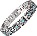 Wollet Jewelry Healthy Antique Style Blue Turquoise Magnetic Therapy Bracelets for