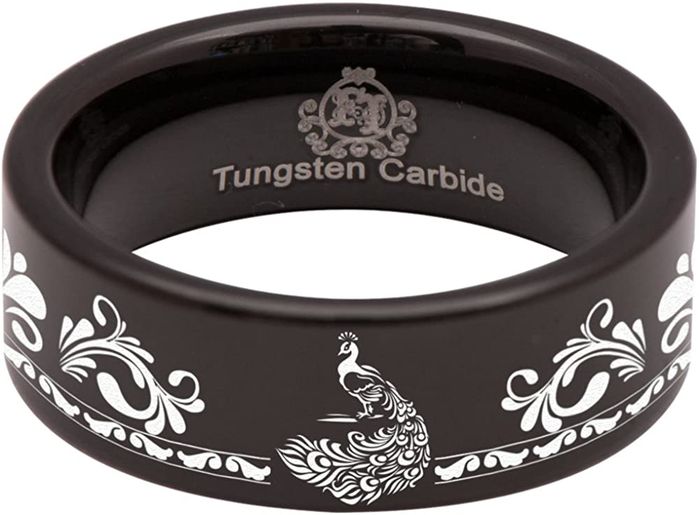 Black Tungsten Carbide Peacock Ring Animal Inspired Wedding Band Anniversary Ring for Men and Women 8mm Size 8