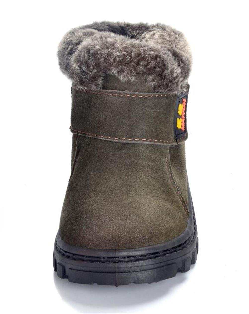 DADAWEN Boy's Girl's Classic Waterproof Suede Leather Snow Boots (Toddler/Little Kid/Big Kid) Green US Size 11 M Little Kid by DADAWEN (Image #3)