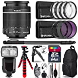 Canon 18-55mm IS STM Lens + Pro Flash + UV-CPL-FLD Filters + Macro Filter Kit + 72'' Photo/Video Monopod + Table-Top-Tripod + 64GB Class 10 Memory Card+ Backpack - International Version