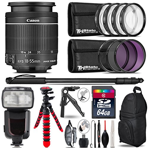 Canon 18-55mm IS STM Lens + Pro Flash + UV-CPL-FLD Filters + Macro Filter Kit + 72'' Photo/Video Monopod + Table-Top-Tripod + 64GB Class 10 Memory Card+ Backpack - International Version by TriStateCamera