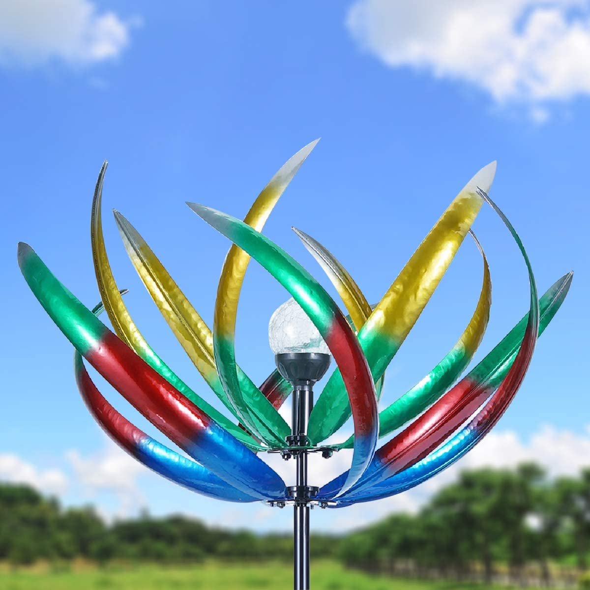 Solar Wind Spinner 3d Kinetic Wind Spinners Outdoor Metal Gardening Decorations With Multi Color Led Lighting By Solar Powered Glass Ball With Lawn Ornament Wind Mills Patio Lawn Garden Hazelsdiner Garden Sculptures