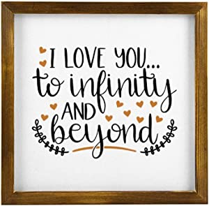 BYRON HOYLE I Love You to Infinity and Beyond Wood Framed Sign Modern Pallet Wall Art Decor Inspirational Quote Sign Wooden Plaque Home Decor