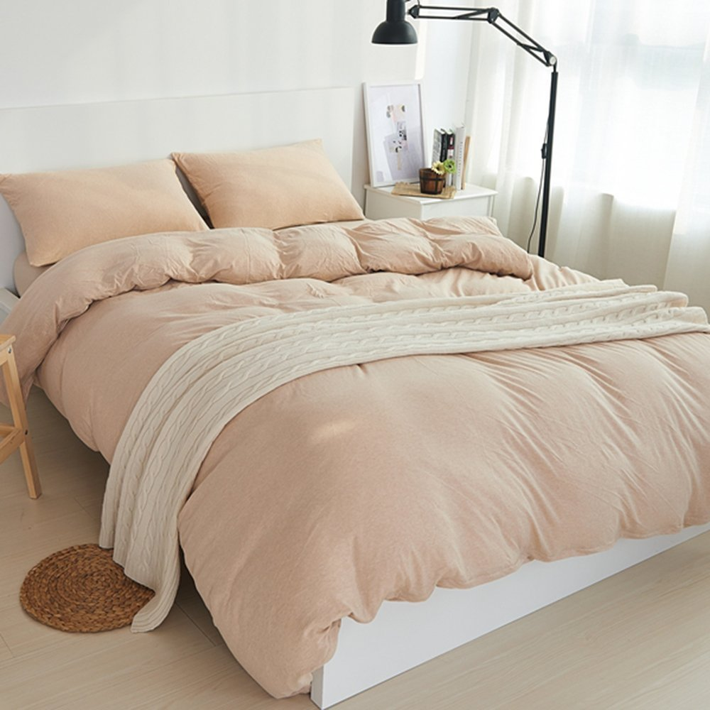 DOUH Ultra Soft Jersey Knit Cotton 3 Pieces Duvet Cover Set Solid Pattern 1 Comforter Cover and 2 Pillow Shams with Zipper Closure Champagne King Size