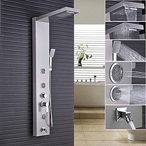 Rozin Brushed Nickel Rain Waterfall Shower Panel Set Body Jets with Hand Spray Wall Mounted - 6 Jets Massage Shower Panel
