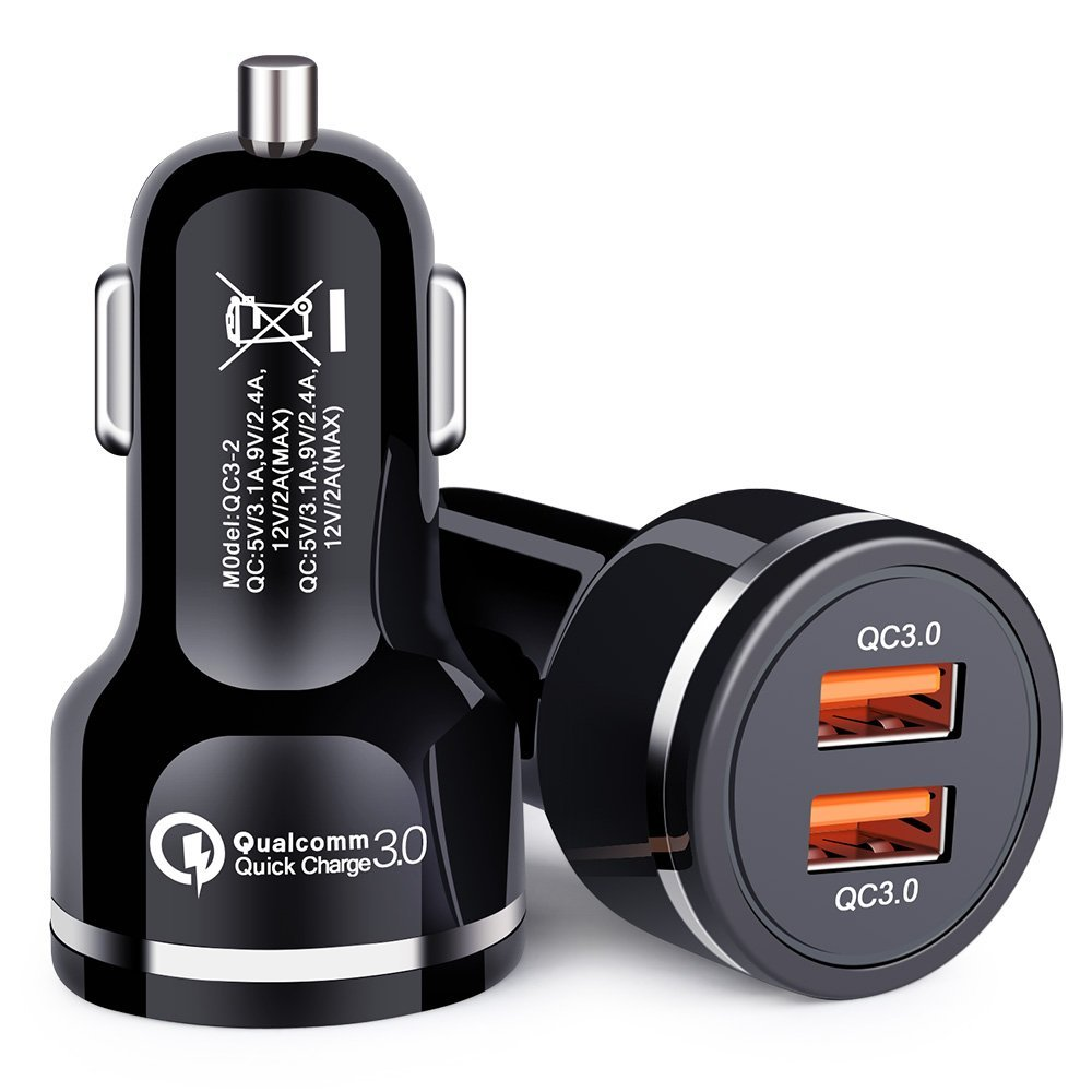 Note 10+,iPhone 11 Pro iPad,Pixel 4 3 XL and More. Quick Charge 3.0 Car Charger 48W 6A Dual QC3.0 USB Fast Car Charger Adapter Compatible for Galaxy S10
