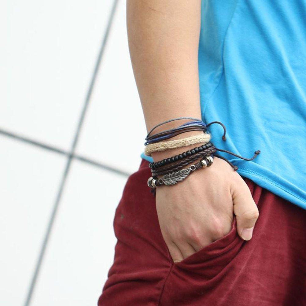 Hosaire Mode Herren Leder Armb/änder Mehrfache Kombinationen Armreifen Schmuck Armband Mens Geschenk Zubeh/ör Leather Bracelet