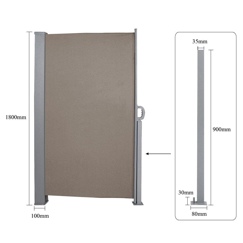 Konvery Seitenmarkise-180 x 300 cm Brau T/ÜV,gepr/üft UV,seitlicher Sichtschutz sichtschutz,Rei/ßfestigkeit,f/ür Balkon Terrasse ausziehbare markise