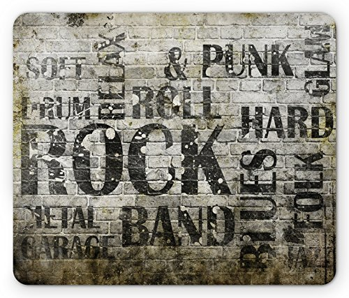 Grunge Mouse Pad Music Wall with Punk Jazz Rock Garage Soft Blues Folk Genre Art Murky Graphic, Standard Size Rectangle Non-Slip Rubber Mousepad, Army Green Beige (Punk Rock Mouse Pad)