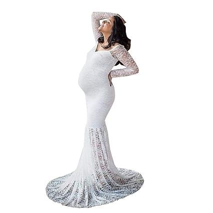 Embarazos de mujeres Sexy Fotografía Props Off Shoulders Lace Nursing Vestido largo Apoyos fotográficos embarazadas para
