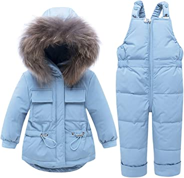 Jumpsuits Set Outfit Baby Girl Boy 2 Pcs Snowsuit Toddler Winter Warm Hooded Fur Trim Puffer Down Coat