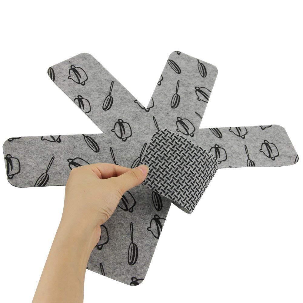 Xibin Padella pentola e protezioni 9 pezzi feltro stampa Premium divisori imbottiti separare e proteggere superfici dell pentole per evitare graffi Proteggi pentole e salvapadelle pot sottopentola