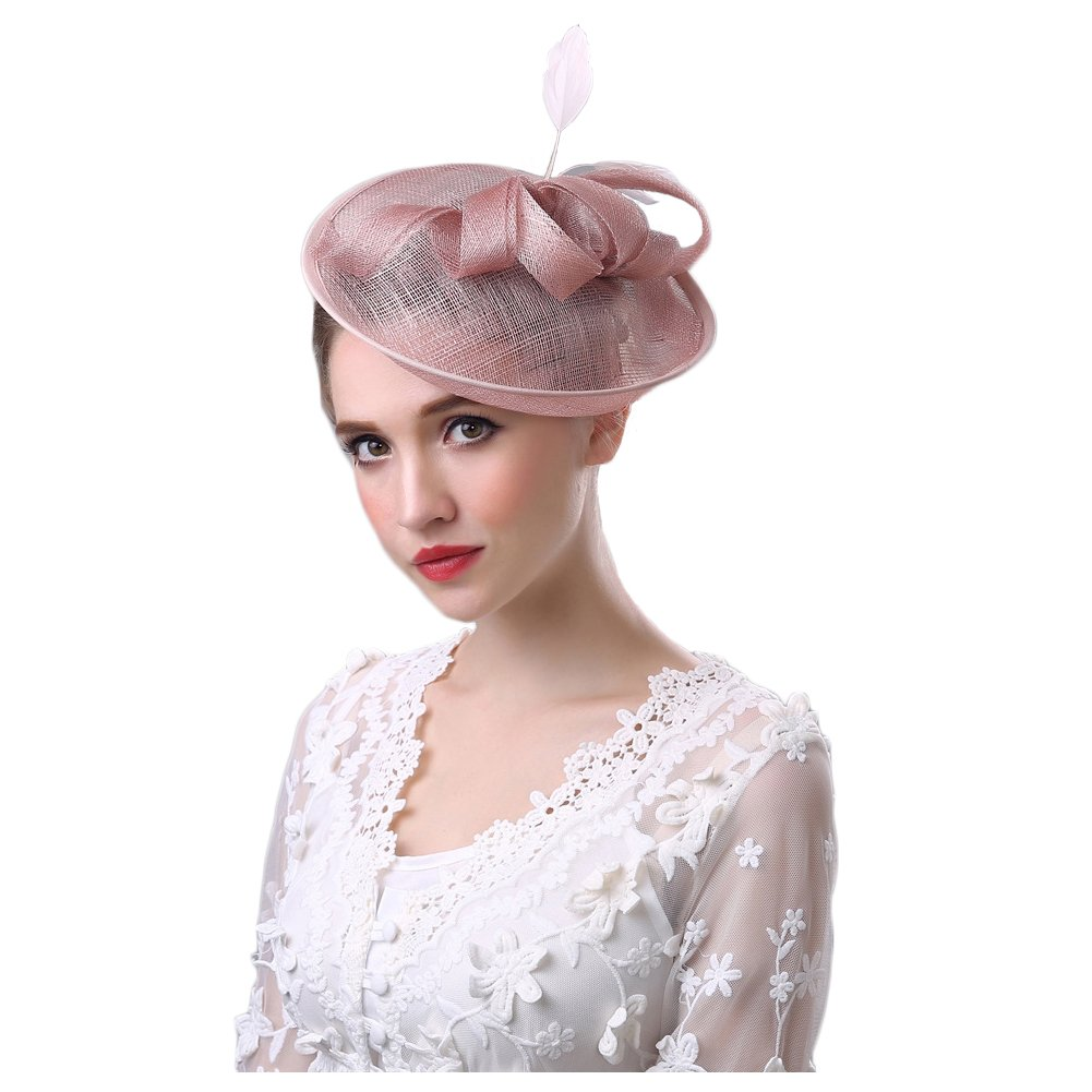 BlueSpace Fascinator Hats for Women Feather Mesh Cocktail Kentucky Derby Wedding Headband, Pink