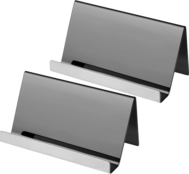 Maxdot 2 Pack Stainless Steel Business Cards Holders Desktop Card Display Business Card Rack Organizer (Black)