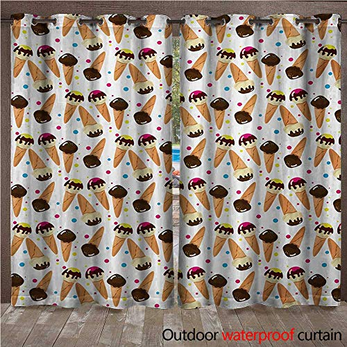 WilliamsDecor Ice Cream 0utdoor Curtains for Patio Waterproof Chocolate Covered Ice Cream with Colorful Little Dots Frozen Desert Waffle Cones W108 x L84(274cm x 214cm)