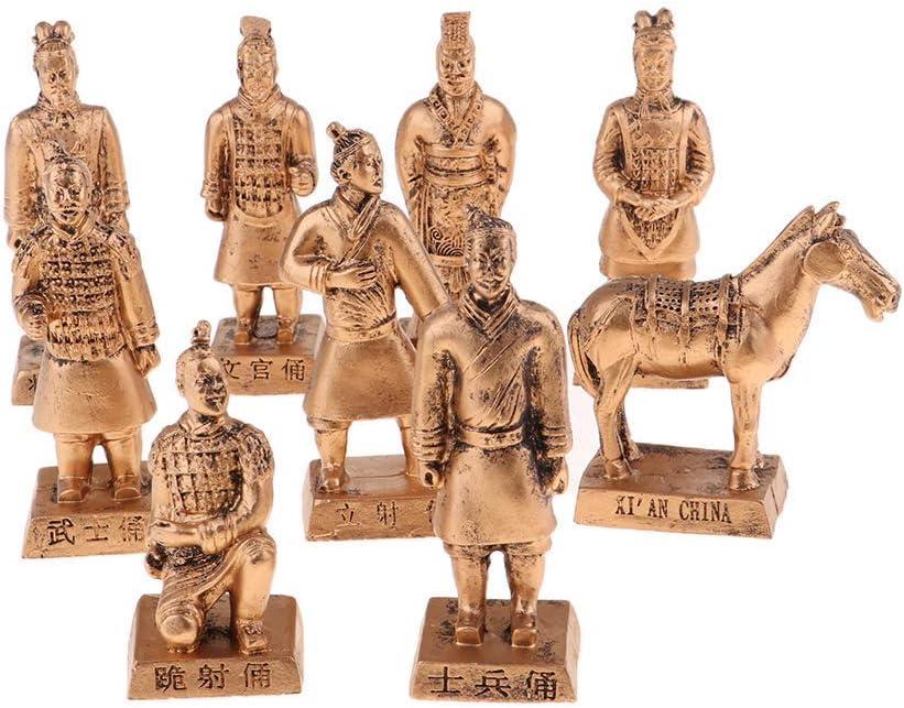 Backbayia Resin Terracotta Warriors Figurine Set, Chinese Qin Dynasty Terra Cotta Warrior Sculpture Home Decor Gift (Gold)