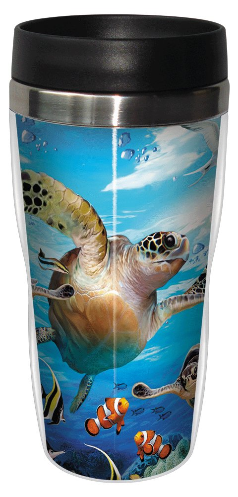 Sea Turtles and Friends Travel Mug, Stainless Lined Coffee Tumbler, 16-Ounce - Howard Robinson - Gift for Turtle Lovers - Tree-Free Greetings 25811