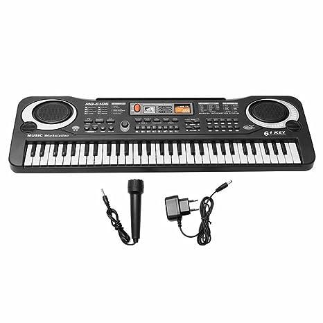 Teclado órgano musical infantil electrónico de 61 teclas con función karaoke y alimentador