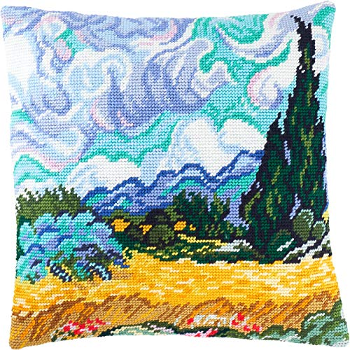 - Wheat Field with Cypresses by Vincent Van Gogh. Cross Stitch Kit. Throw Pillow Case 16×16 Inches. Home Decor, DIY Embroidery Needlepoint Cushion Cover Front, Printed Tapestry Canvas, European Quality