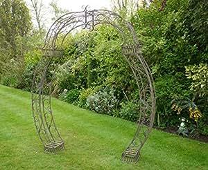 Hierro Forjado diseño de metal arco para jardín, color marrón