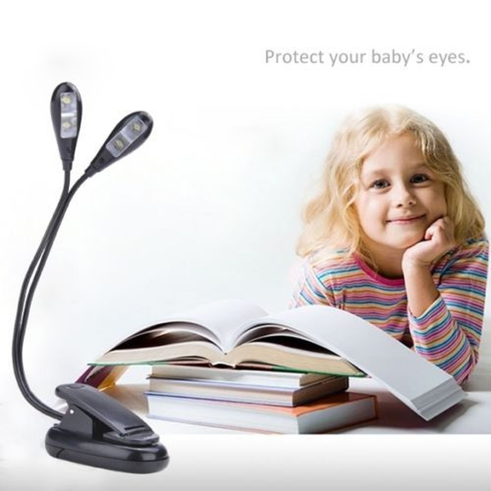 Led Book Reading Light//USB and Battery Operated Light//Music stand light//Clip on and Portable Lights for Piano Travel E-reader /& Bed Headboard-Eye Friendly with Dual Arms