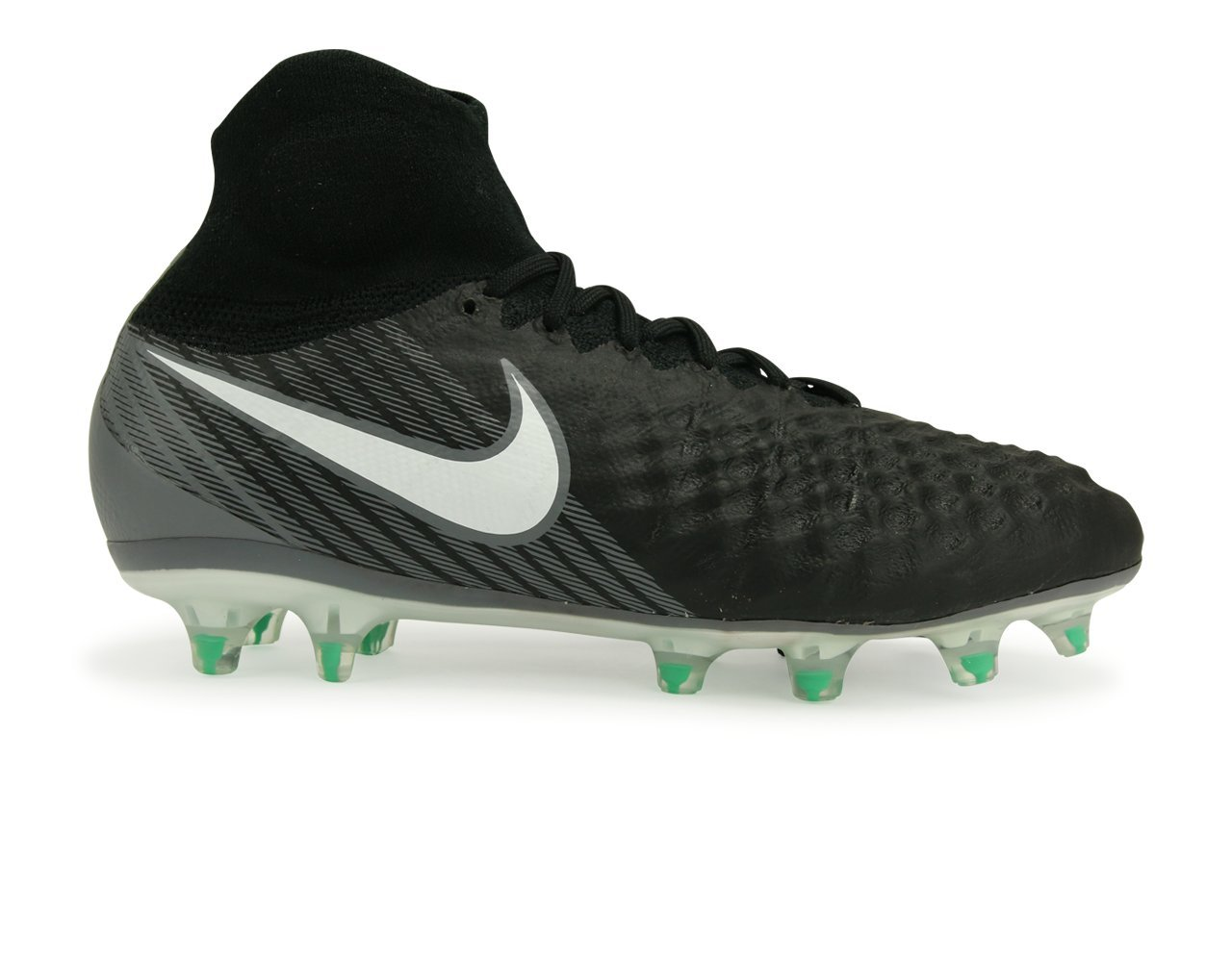 NIKE KIDS MAGISTA OBRA II FG BLACK/WHITE/COOL GREY/STADIUM GREEN Shoes - 6Y