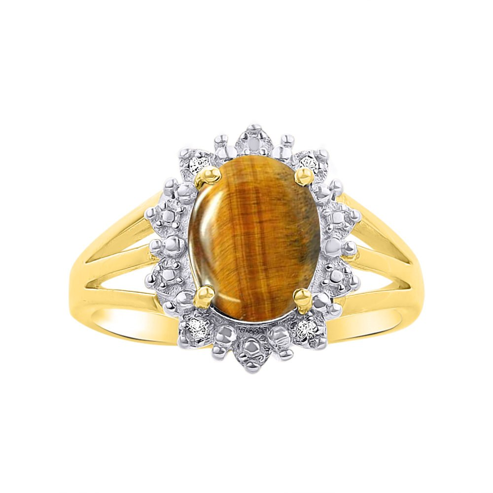 Princess Diana Inspired Halo Diamond & Tiger Eye Ring Set In 14K Yellow Gold